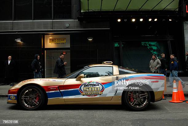 The Chevrolet Corvette Z06 Pace Car for the 2008 Daytona 500 is parked after a taping for Good Morning America Now with Kevin Harvick February 5 2008...