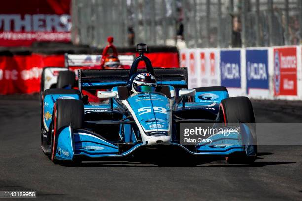 The Chevrolet IndyCar of Max Chilton, of Great Britain, races on the track during the IndyCar race at the Acura Grand Prix of Long Beach on the...