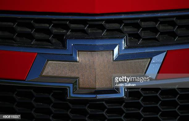 The Chevrolet logo is displayed on a brand new car at FH Dailey Chevrolet on May 15 2014 in San Leandro California General Motors announced the...