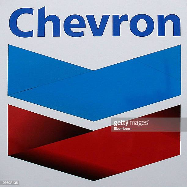 The Chevron Corp company logo sits at the Chevron oil refinery in Pembroke near Rhoscrowther UK on Wednesday March 10 2010 Chevron Corp the...