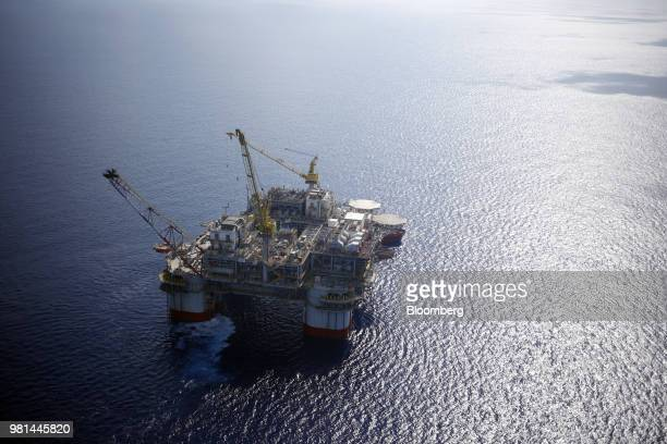 The Chevron Corp Jack/St Malo deepwater oil platform stands in the Gulf of Mexico in the aerial photograph taken off the coast of Louisiana US on...