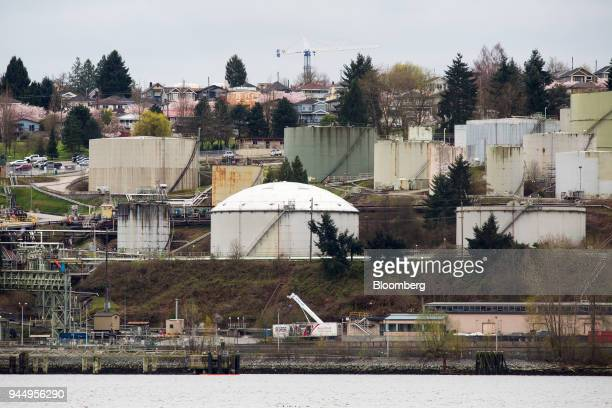 The Chevron Corp oil refinery is pictured in Burnaby British Columbia Canada on Wednesday April 11 2018 Alberta the landlocked Canadian province...