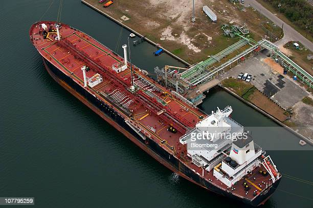 The Chevron Corp tanker California Voyager loads oil products at the Port of Corpus Christi in Corpus Christi Texas US as seen in this aerial photo...