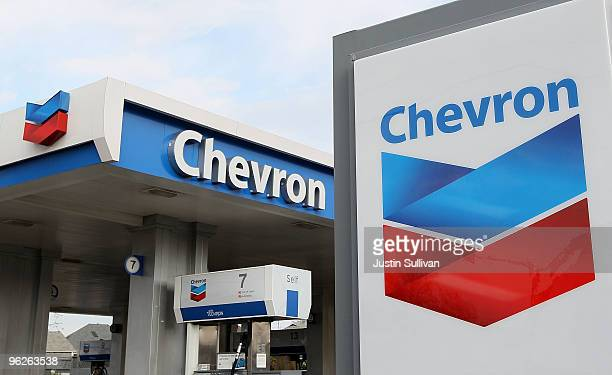 The Chevron logo is displayed at a Chevron gas station January 29 2010 in Alameda California Chevron reported a 37 percent decline in fourth quarter...
