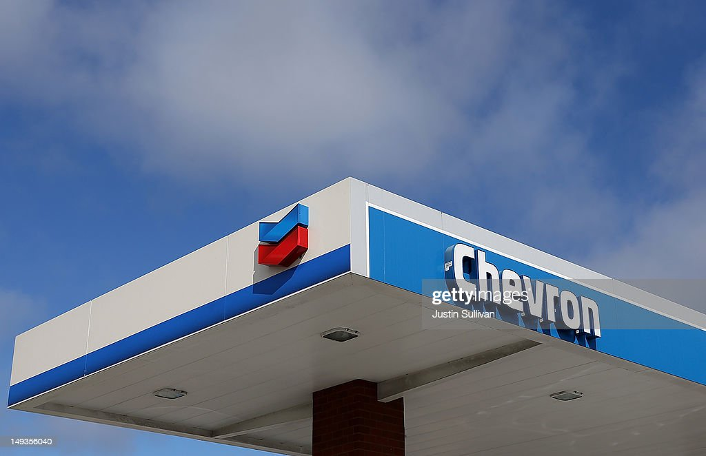 The Chevron logo is displayed at a Chevron gas station on July 27, 2012 in Greenbrae, California. Chevron reported a 6.8 percent decline in second quarter earnings with profits of $7.21 billion compared to $7.73 billion one year ago.