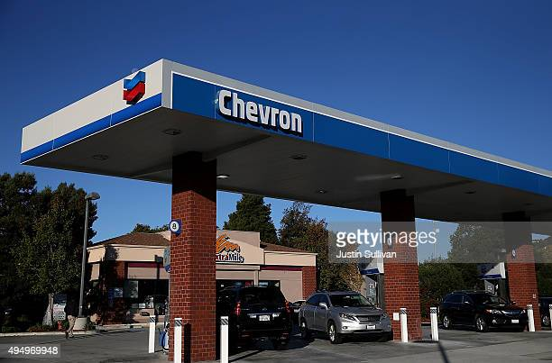 The Chevron logo is displayed at a Chevron station on October 30 2015 in Greenbrae California Chevron announced plans to cut up to 7000 jobs as oil...