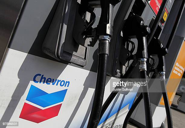 The Chevron logo is displayed on a gas pump at a Chevron gas station March 9 2010 in San Francisco California Chevron Corp announced that it would...