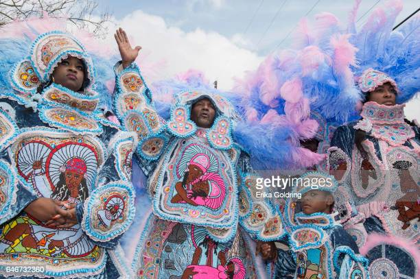 The Cheyenne Mardi Gras Indians greet another Uptown tribe on February 28 2017 in New Orleans Louisiana