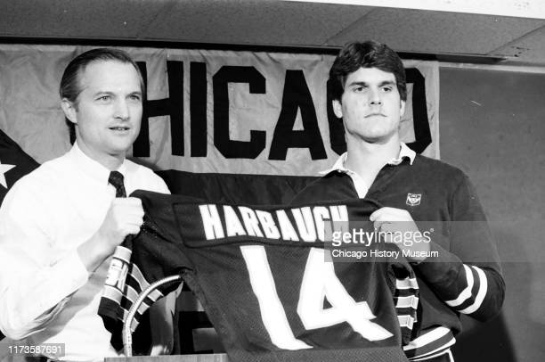 The Chicago Bears announce their number one draft pick, Jim Harbaugh, at Halas Hall, Lake Forest, Illinois, September 28, 1987. Harbaugh is a...