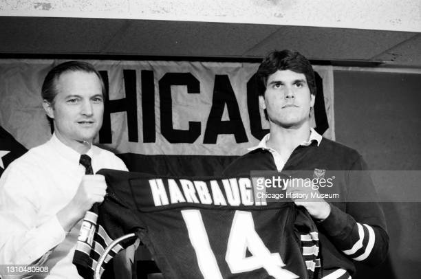 The Chicago Bears announce their number one draft pick, Jim Harbaugh, at Halas Hall, Lake Forest, Illinois, September 28, 1987.