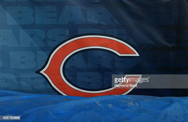 The Chicago Bears 'C' logo at the North end of Soldier Field home of the Chicago Bears football team in Chicago on November 26 2014 in Chicago...