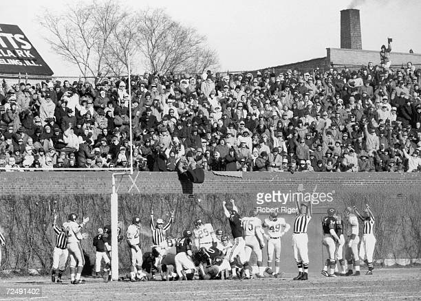 The Chicago Bears celebrate a touchdown during a game against the New York Giants at Wrigley Field Chicago Illinois early 1960s The two teams played...