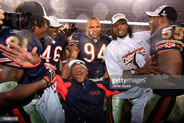 The Chicago Bears celebrate after defeating the New Orleans Saints during the NFC Championship Game on January 21, 2007 at Soldier Field in Chicago,...