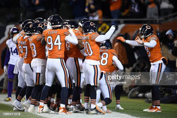 The Chicago Bears celebrate after Eddie Jackson scored a touchdown against the Minnesota Vikings in the fourth quarter at Soldier Field on November...