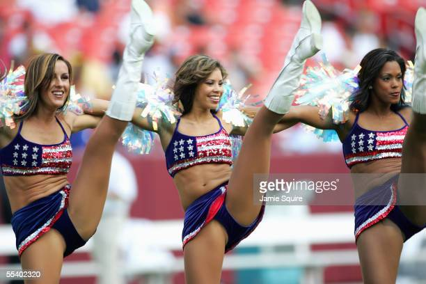 The Chicago Bears cheerleaders celebrate during the game with the Washington Redskins on September 11 2005 at Fed Ex Field in Landover Maryland The...