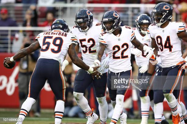 The Chicago Bears defense celebrates after an interception by Danny Trevathan of Nick Mullens of the San Francisco 49ers during their NFL game at...