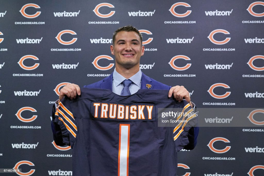 The Chicago Bears first round draft pick quarterback Mitchell Trubisky, from North Carolina, poses with a Bears jersey during a Chicago Bears Press Conference on April 28, 2017 at Halas Hall, in Lake Forest, IL.