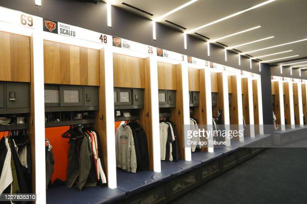 The Chicago Bears locker room during a media tour of the Halas Hall expansion on August 29 in Lake Forest, Illinois. The NFL asked all teams to...