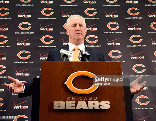 The Chicago Bears new head coach John Fox speaks to the media during his introduction press conference on January 19 2015 at Halas Hall in Lake...