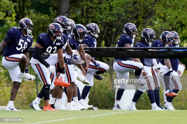 The Chicago Bears run during training camp at Halas Hall on August 18, 2020 in Lake Forest, Illinois.