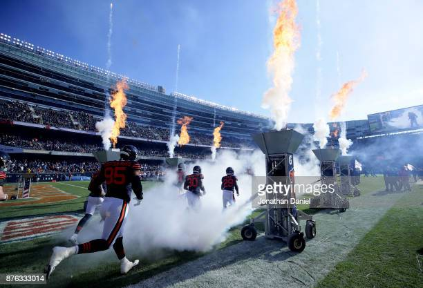 The Chicago Bears run out to the field prior to the game against the Detroit Lions at Soldier Field on November 19 2017 in Chicago Illinois