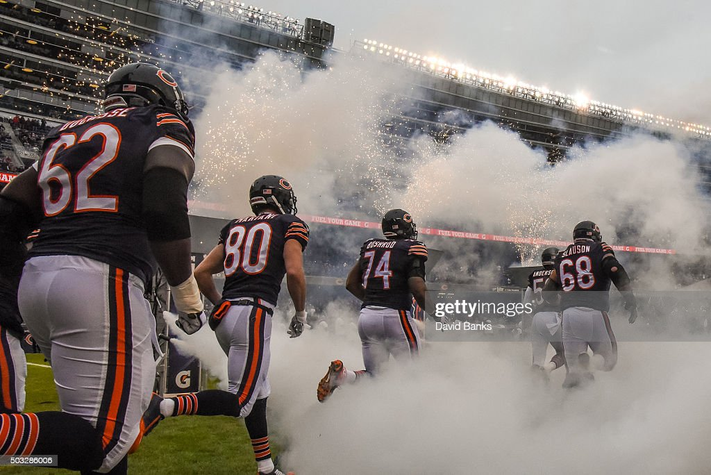 The Chicago Bears run out to the field prior to the start of the game against the Detroit Lions at Soldier Field on January 3, 2016 in Chicago, Illinois.
