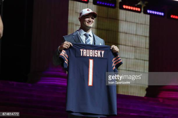 The Chicago Bears select Mitchell Trubisky from North Carolina with the 2nd overall pick at the 2017 NFL Draft at the NFL Draft Theater on April 27...
