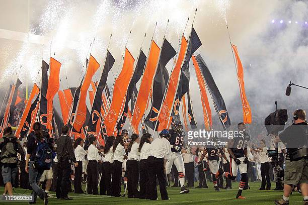 The Chicago Bears take the field before Super Bowl XLI in Miami, Florida, on Sunday, February 4, 2007.