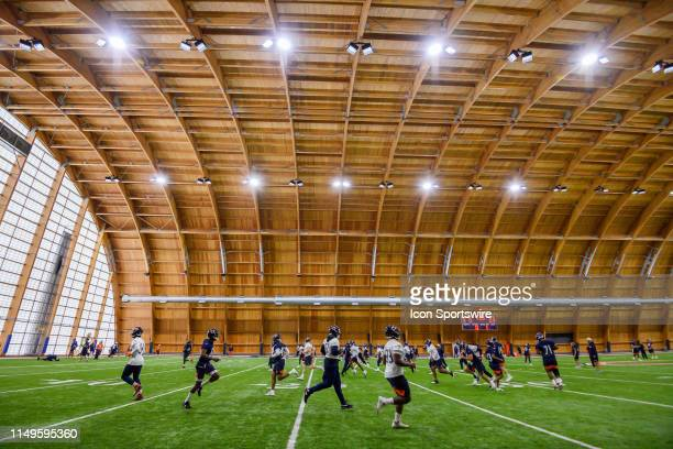 The Chicago Bears warm up during the Chicago Bears Veteran Minicamp on June 12, 2019 at Halas Hall, in Lake Forest, IL.