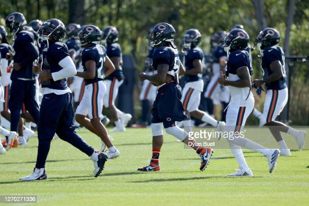 The Chicago Bears warm up during training camp at Halas Hall on September 02, 2020 in Lake Forest, Illinois.