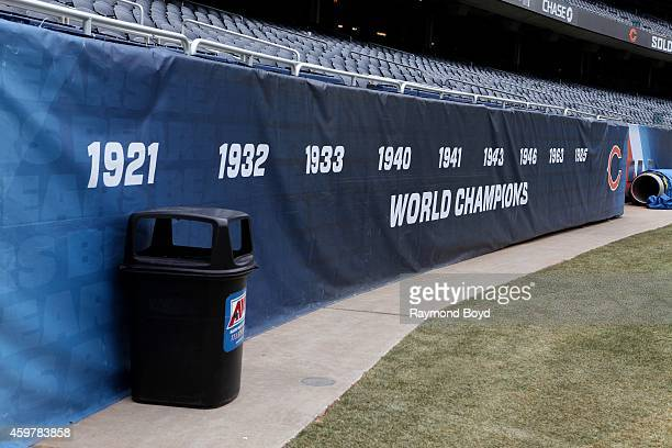 The Chicago Bears 'World Champions' banner at the North end of Soldier Field home of the Chicago Bears football team in Chicago on November 26 2014...