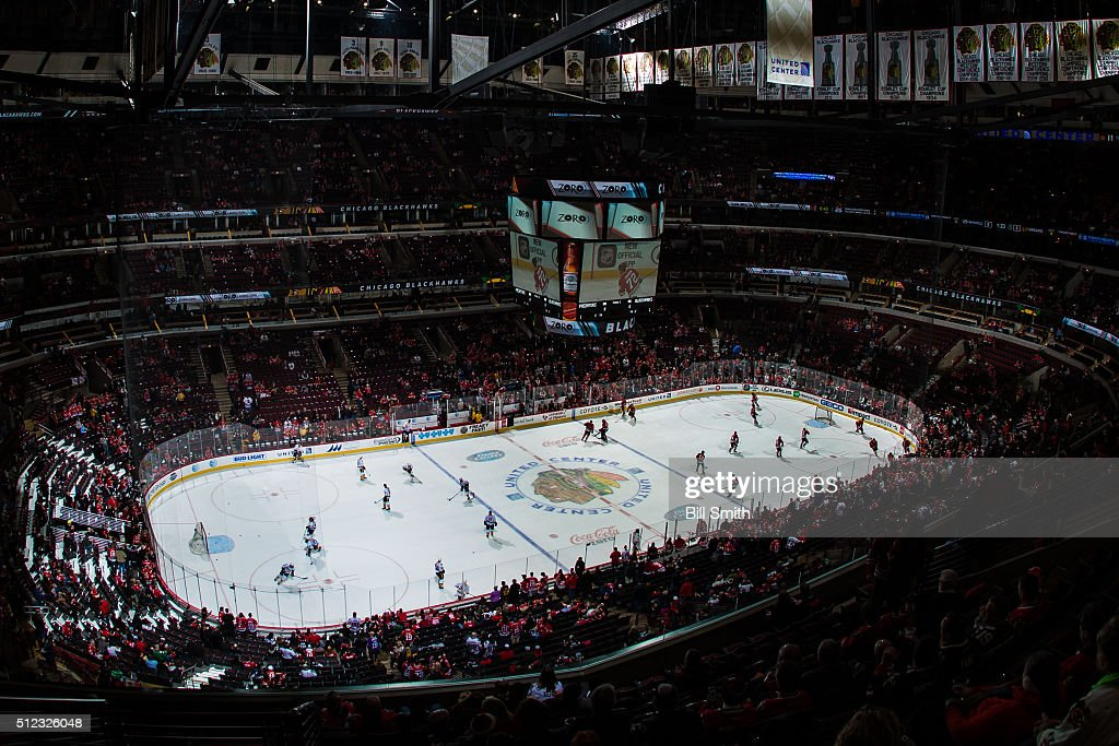 The Chicago Blackhawks and the Nashville Predators warm up prior to the start of the NHL game at the United Center on February 25, 2016 in Chicago, Illinois.