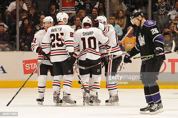 The Chicago Blackhawks celebrate a first period goal from teammate Patrick Kane against the Los Angeles Kings during the game on November 29, 2008 at...