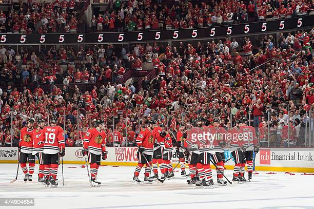 The Chicago Blackhawks celebrate after defeating the Anaheim Ducks 5-2 in Game Six of the Western Conference Finals during the 2015 NHL Stanley Cup...