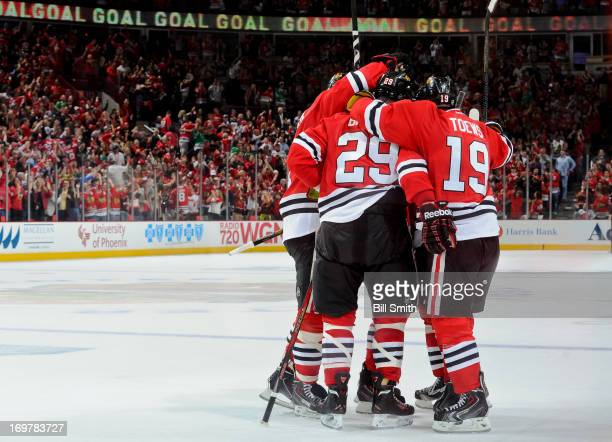 The Chicago Blackhawks celebrate after scoring their second goal against the the Los Angeles Kings in the second period in Game One of the Western...