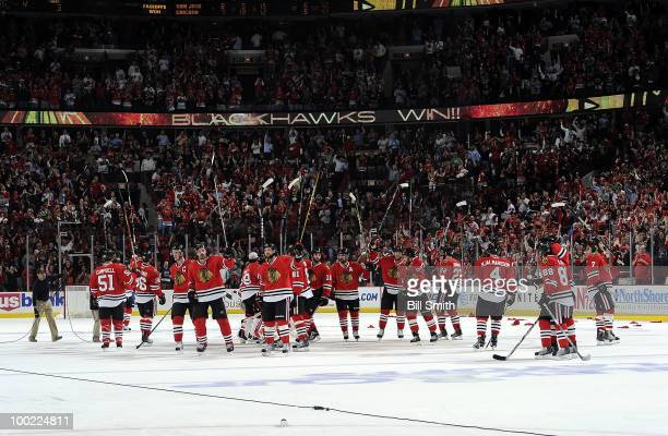 The Chicago Blackhawks celebrate their 32 win in overtime against the San Jose Sharks in Game Three of the Western Conference Finals during the 2010...