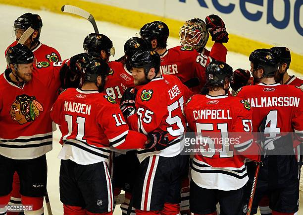 The Chicago Blackhawks celebrate their 42 victory against the San Jose Sharks to advance to the Stanley Cup after winning Game Four of the Western...