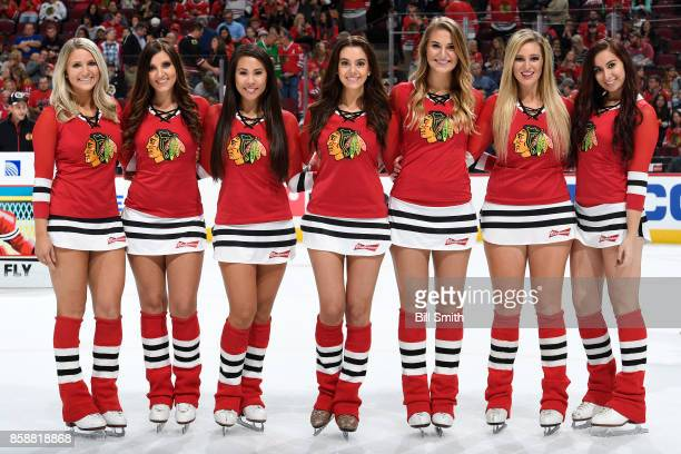 The Chicago Blackhawks icecrew pose for a photo during the game between the Chicago Blackhawks and the Columbus Blue Jackets at the United Center on...