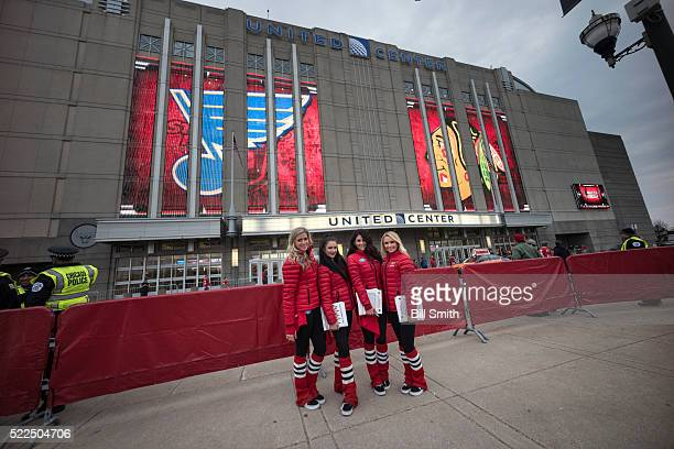 The Chicago Blackhawks icecrew pose for a photo prior to Game Four of the Western Conference First Round between the Chicago Blackhawks and the St...