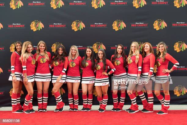 The Chicago Blackhawks icecrew pose for a photo prior to the game between the Chicago Blackhawks and the Pittsburgh Penguins at the United Center on...