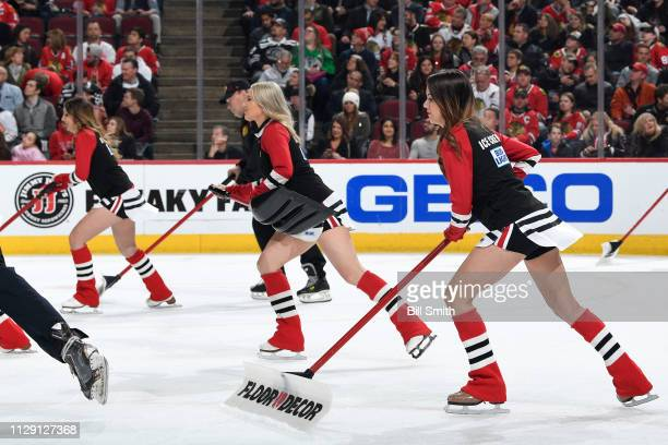 The Chicago Blackhawks icecrew skate during the game between the Chicago Blackhawks and the Buffalo Sabres at the United Center on March 7 2019 in...