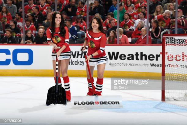 The Chicago Blackhawks icecrew smile for the camera during the game between the Chicago Blackhawks and the Toronto Maple Leafs at the United Center...