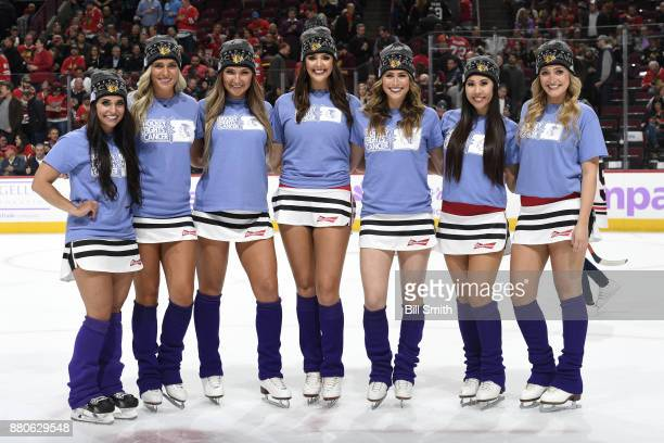 The Chicago Blackhawks icecrew wear lavender in honor of Hockey Fights Cancer night during the game between the Chicago Blackhawks and the Anaheim...