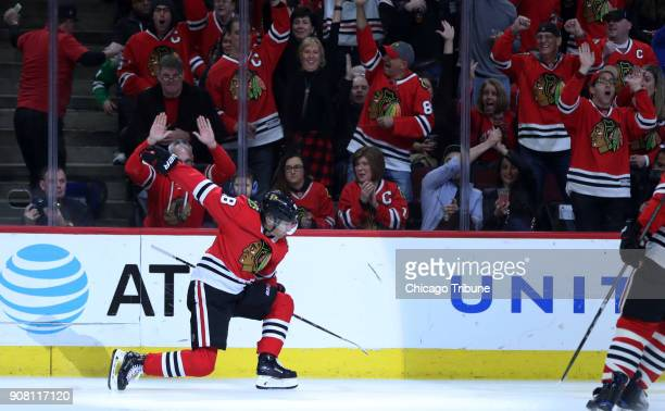 The Chicago Blackhawks' Patrick Kane celebrates after scoring in the first period against the New York Islanders at the United Center in Chicago on...