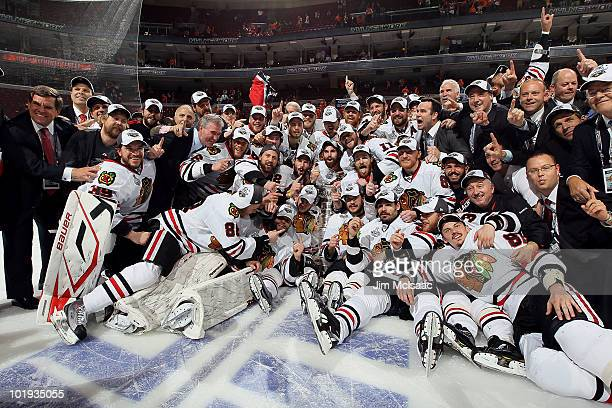 The Chicago Blackhawks pose for a team photo after defeating the Philadelphia Flyers 43 in overtime and win the Stanley Cup in Game Six of the 2010...