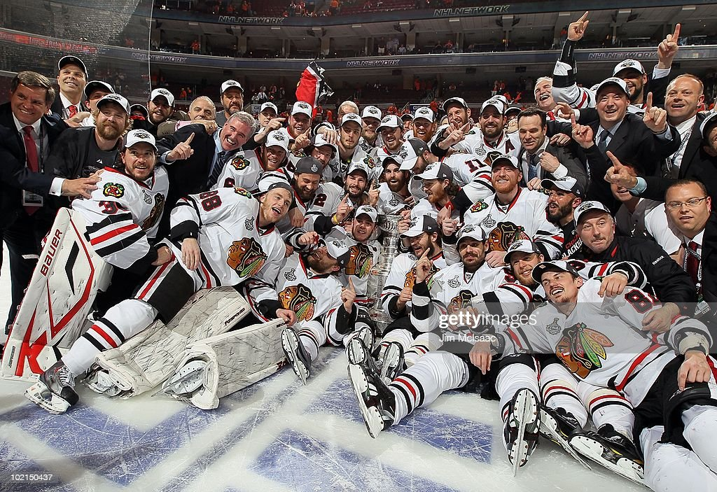 The Chicago Blackhawks pose for a team photo after defeating the Philadelphia Flyers 4-3 in overtime and win the Stanley Cup in Game Six of the 2010 NHL Stanley Cup Final at the Wachovia Center on June 9, 2010 in Philadelphia, Pennsylvania.