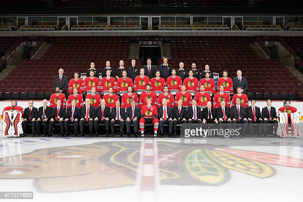 The Chicago Blackhawks pose for their official 20142015 team photo at the United Center on March 16 2015 in Chicago Illinois