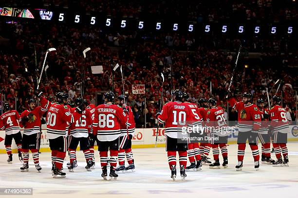 The Chicago Blackhawks salute the crowd after defeating the Anaheim Ducks 52 in Game Six of the Western Conference Finals during the 2015 NHL Stanley...