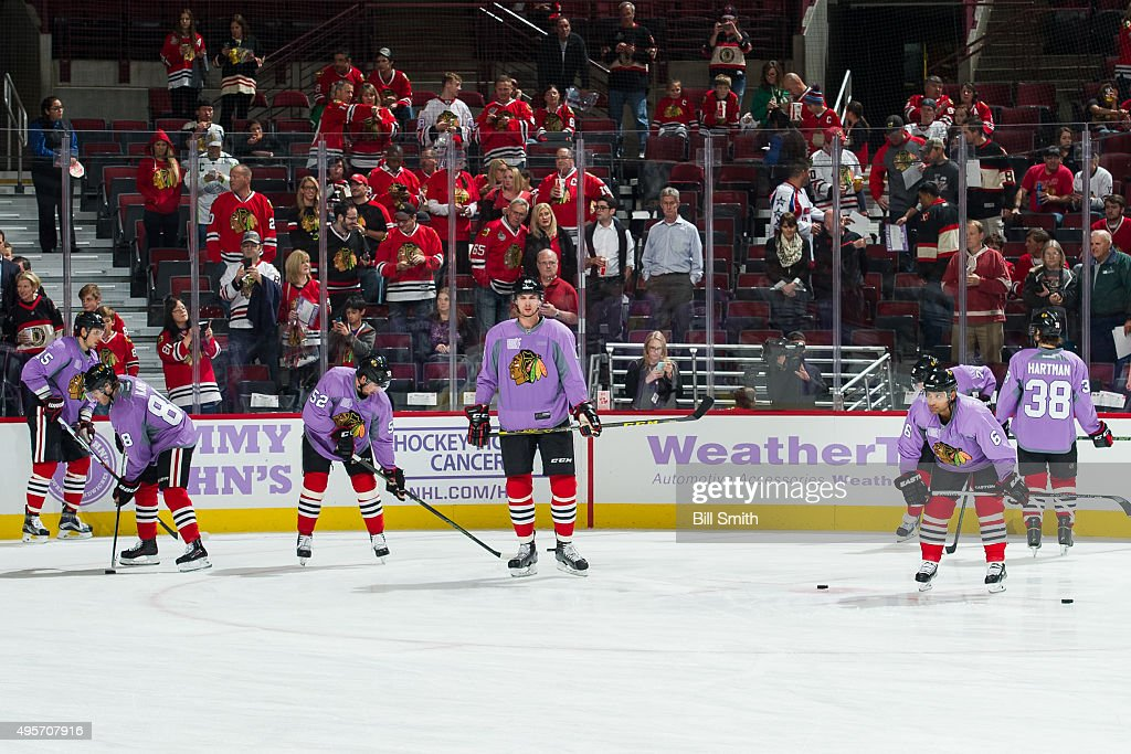 new concept f03c0 b87b0 The Chicago Blackhawks wear purple jerseys in honor of ...