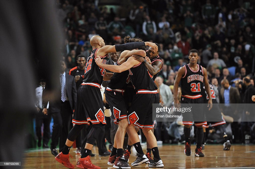The Chicago Bulls celebrate an over time win against the Boston Celtics on January 18, 2013 at the TD Garden in Boston, Massachusetts.